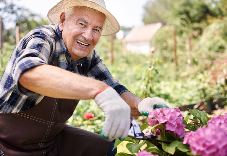 Herr mit Hut arbeitet im Garten
